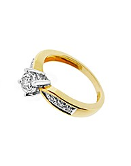 9ct Yellow Gold 0.25ct Diamond Ring