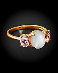 GPS Amethyst and Moonstone Ring