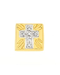 9ct Gold Square Stud Earring with Cross