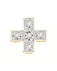 9ct Gold Diamond Gents Cross Earring