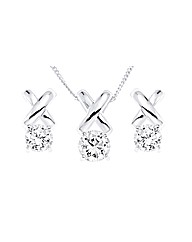 SILVER CZ Kiss Pendant and Earring Set