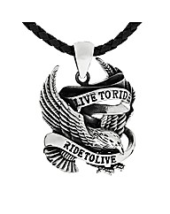 Stainlees Steel LIVE TO RIDE Pendant