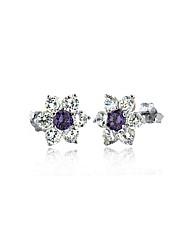 Purple and White Flower Cluster Studs