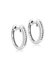9ct White Gold Diamond hoop earring