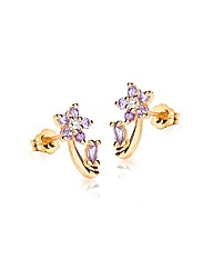 9ct Gold Amethyst Flower Stud Earring