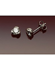 9ct White Gold 4mm CZ Stud Earrings