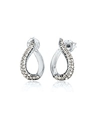 9ct White Gold CZ Teardrop Stud Earrings