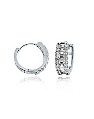 9ct White Gold 15mm CZ Huggy Earrings