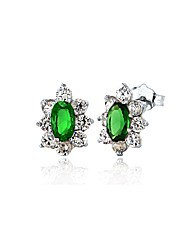 Green and White CZ Marquise Cluster Stud