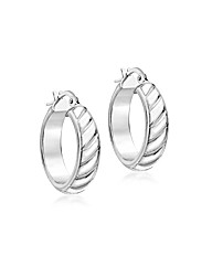 9ct White Gold Striped Creole Earring