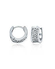 9ct White Gold 12mm Pave Set CZ Earrings