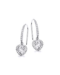 9ct White Gold Heart Drop Earrings