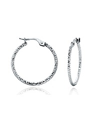 9ct White Gold Patterned Creole Earring