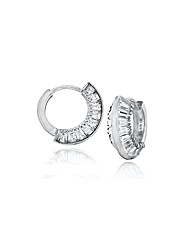 9ct White Gold 14mm CZ Huggy Earrings