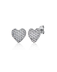9ct White Gold CZ Heart Stud Earrings