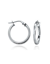 9ct White Gold Round Creole Earring