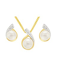Gold Plated Pearl Jewellery Set