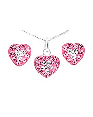 Silver Pink White Crystal Jewellery Set
