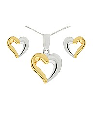 Silver Heart Pendant And Earring Set