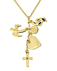 Gold Plated Footprints Charm Pendant