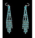 Blue Crystal Set Dropper Earrings