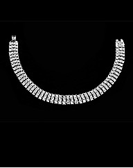 Rhodium Plated Crystal Set Bracelet