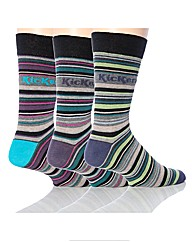 3 Pk Kickers Belleville Stripe Socks