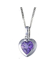 9ct White Gold Amethyst/Diamond Pendant