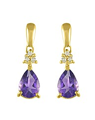 9ct Gold Amethyst/Diamond Earring