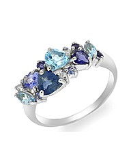 9ct White Gold Tanzanite/Multi-Gem Ring