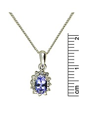 9ct White Gold Tanzanite/Diamond Pendant