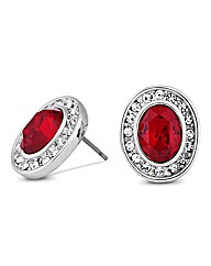 Jon Richard Red Oval Crystal Earring