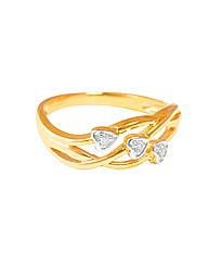 9ct Yellow Gold Triple Heart Ring