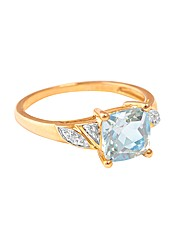 9ct Yellow Gold Diamond & BT Ring