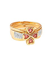 9ct YG Triple Clover Ring