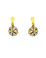 9ct Yellow Gold Floral Heart Earrings