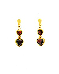 9ct YG Garnet Double Heart Drop Earrings