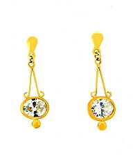 9ct Yellow Gold CZ Dropper Earrings