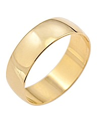 9ct Gold D shape wedding band
