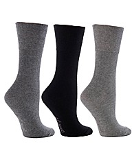 6Pr Gentle Grip Socks-Mix 4-8 Black/Char