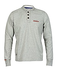 Mens Grey Button Crew