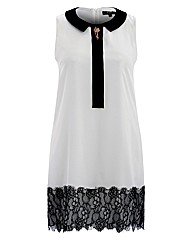 Koko Lace Trim Dress With Broach