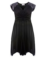Praslin Black Sequin Sleeve Dress