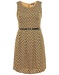 Samya Geometric Print Belted Dress
