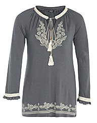 Samya Lace Floral Faux Embroidered Tunic