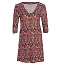 Samya 3/4 Sleeve Paisley Tunic Dress