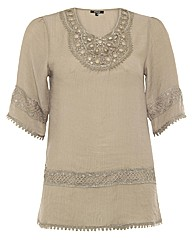 Samya Crochet Bead Embelished Tunic Top