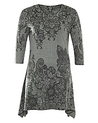 Samya Paisley Print Dip Hem Knit Dress