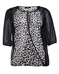 Koko Animal Print Chiffon Top