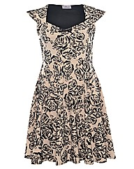 Praslin Flocked Rose Print Dress